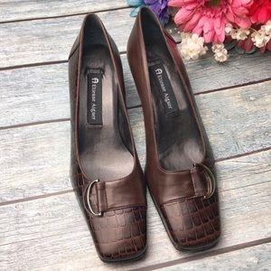 Etienne Aigner Manzoni Croc Style Leather Heels